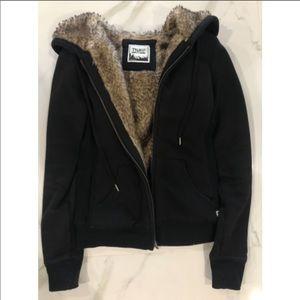 TNA Black Fur Zip-up Hoodie Size: S